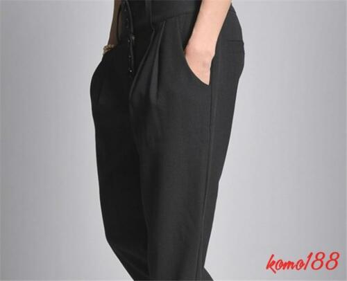 Mens Dress Pants Loose high-waisted trousers Slim Harem Pants Korean Black 27-40