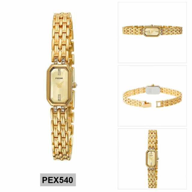 Pulsar Crystal Accent Ladies Analog Business Gold Band PEX540