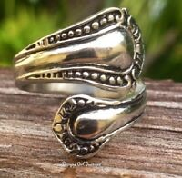 Antique Silver Spoon Ring Bypass Stainless Steel Vintage Style Sz 6-10 Fashion