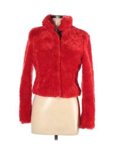 Miss Sixty Women Red Faux Fur Jacket XS