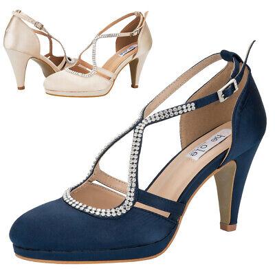 SheSole Womens Stiletto Heels Rhinestone Satin Round Toe Wedding Shoes Size | eBay