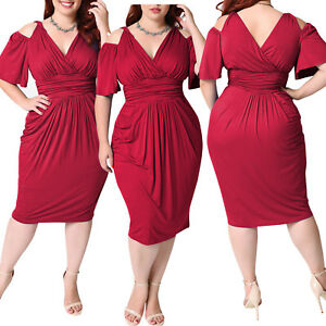 Image Is Loading Cold Shoulder Evening Dress Bodycon Plus Size Office