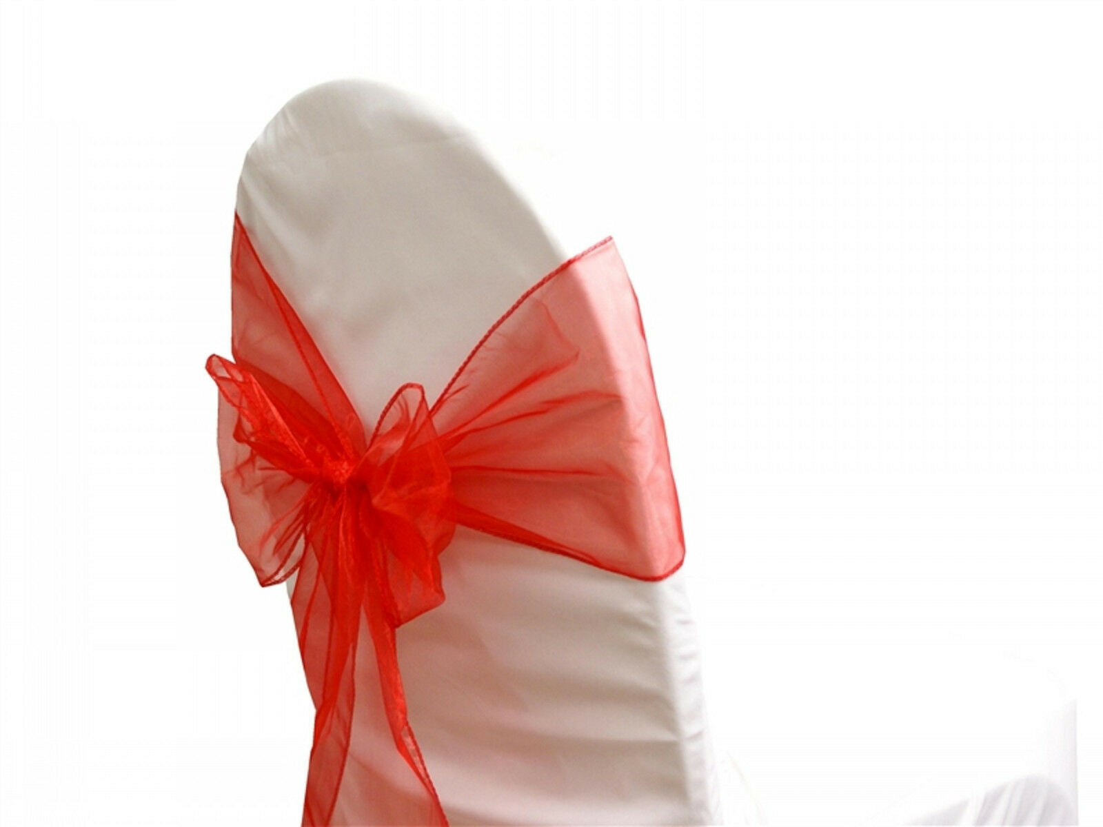 72 Chair Bow Organza Sashes Chair Wedding Party Bows 9  x 10ft-rot