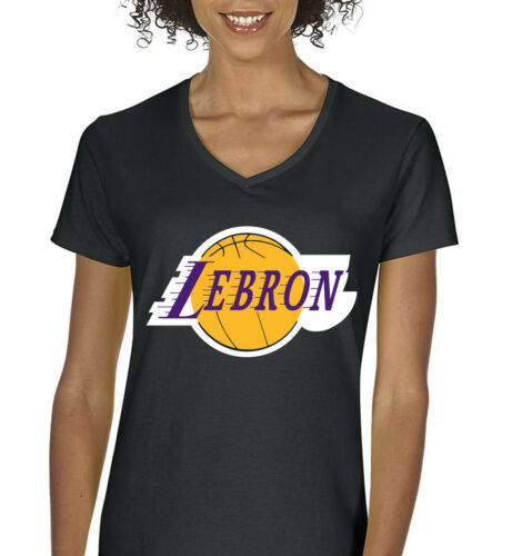 "V-NECK Ladies BLACK Lebron James Los Angeles Lakers /""Logo/""  T-shirt"