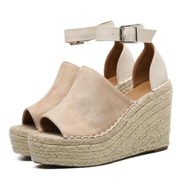 Sandalias elegantes talón cuña cómodo 11 cm claro cuerda como piel 9676
