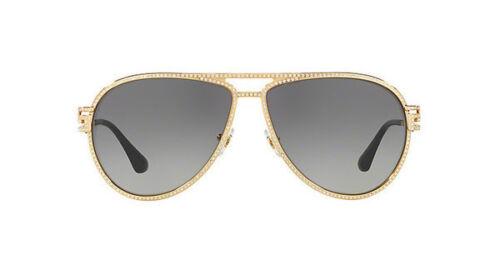 Grey Gradient 59mm 100211 NWT Versace Sunglasses VE 2171B 1002//11 Gold Glitter