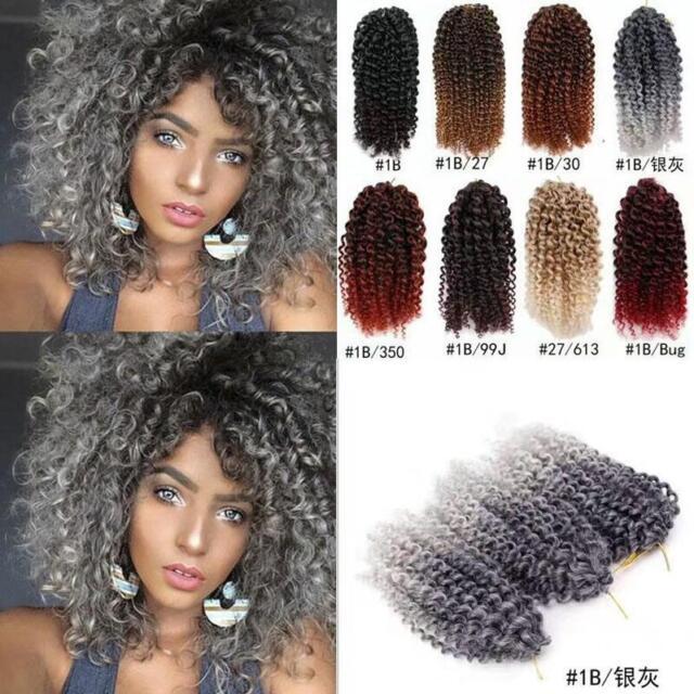 3pcs Set 8 Ombre Mali Bob Curly Weave Synthetic Twist Crochet Braid Hair Extens Ebay