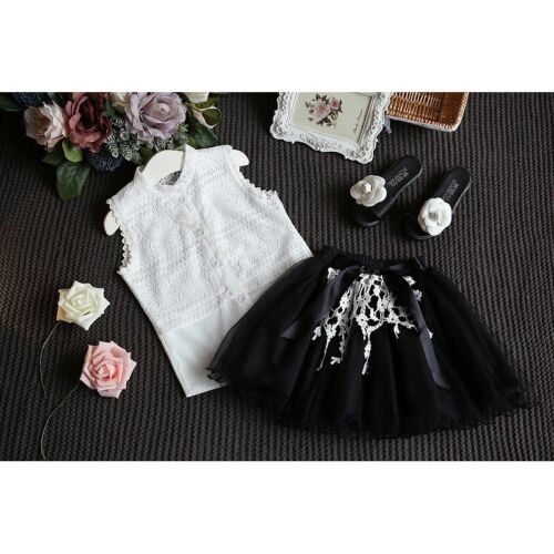 2PCS Toddler Kids Baby Girls Outfits T-shirt Tops+Skirt Summer Lace Clothes  Set