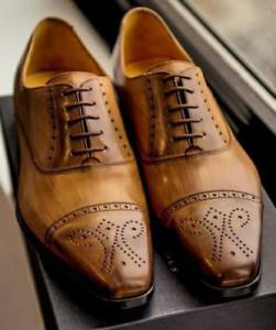 Dettagli su Scarpe stringate a punta in pelle Oxford Brogue fatte a mano su misura in vera