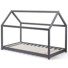 Lit cabane 90x190 cm gris