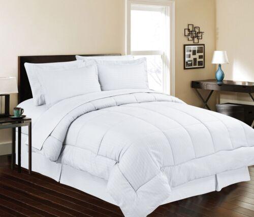8 piece Bed In Bag Hotel Style Dobby Embossed Comforter Sheet Bed Skirt Sham Set