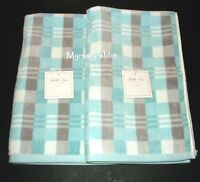 Bella Lux Bathroom Plush Hand Towels Set Of 2 - Blue Gray Checkered-