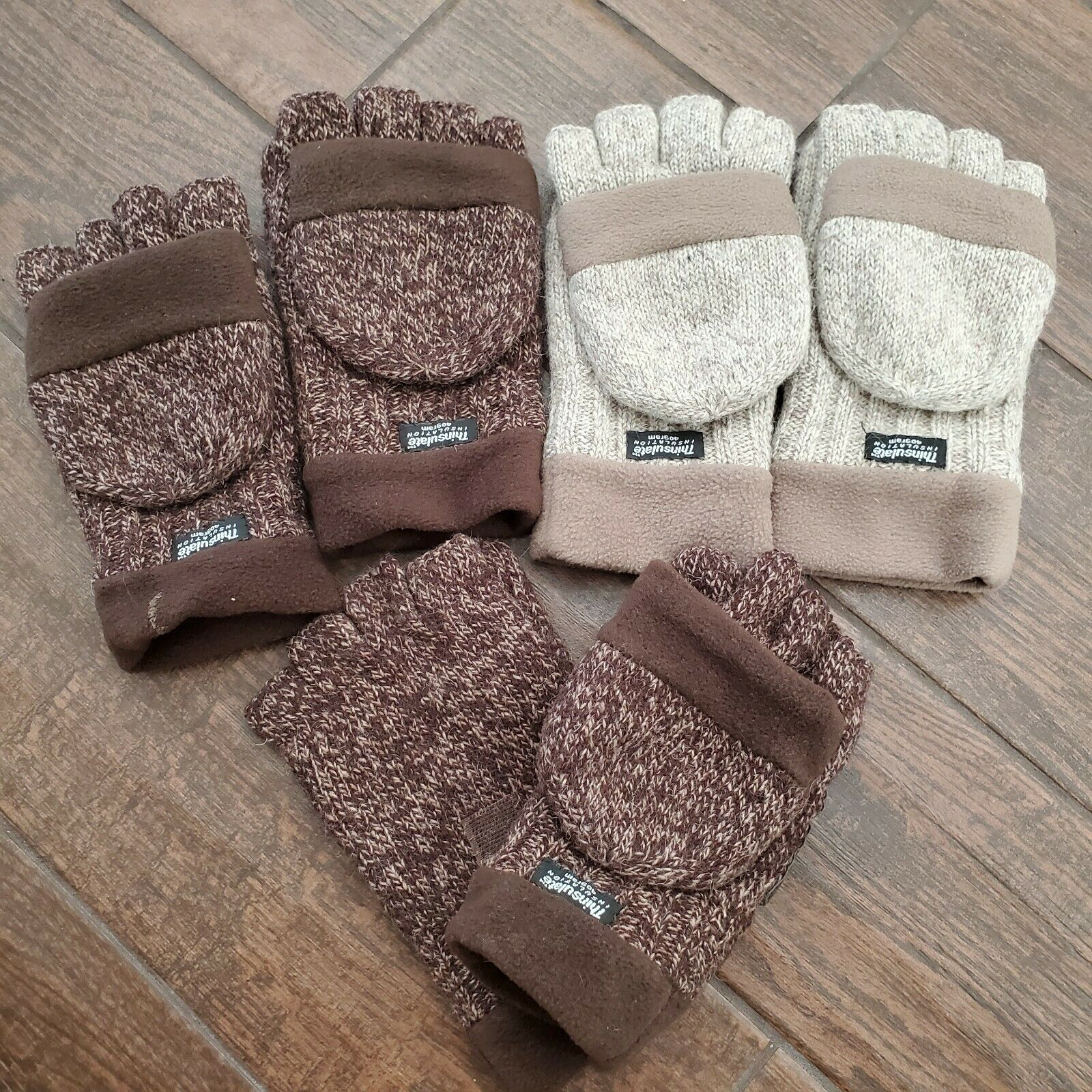 Mens Thinsulate Wool Knitted 3m Half Mitten Suede Palm Glove Lot Size Small