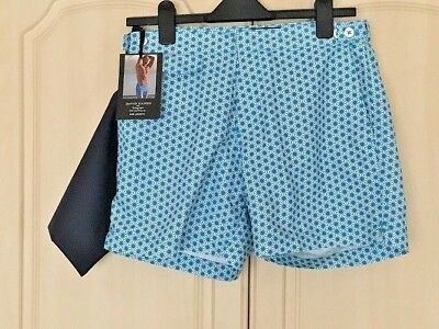 "M/&S Autograph David Gandy Blue Swim Shorts Size 28/"" Waist With Bag Mid Length"