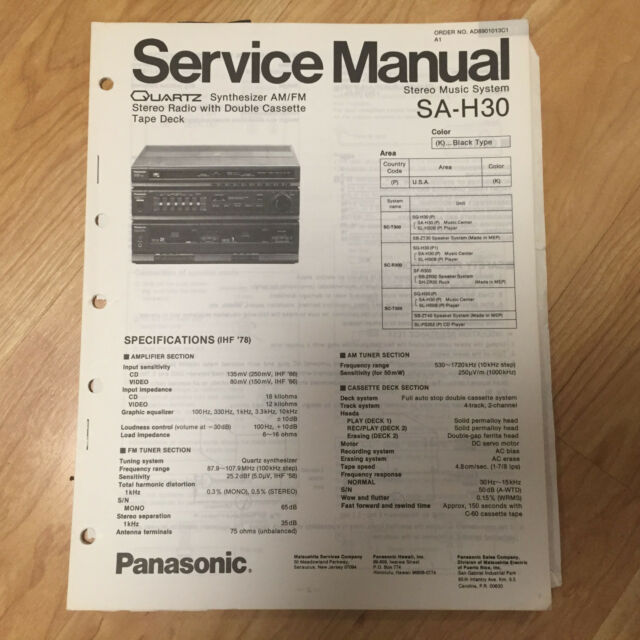 Original Panasonic Service Manual for SA Model Stereo Systems ~ Select One
