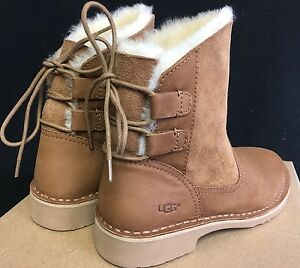 2154eeac8ef Details about Ugg Australia Naiyah Chestnut Boot Lace Up Shearling Lace Up  women's 1016850