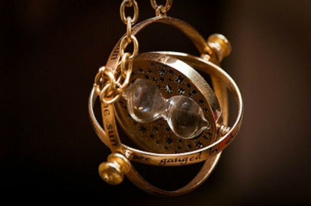 Harry Potter Hermione Granger Gold Tone Hourglass Necklace Pendant Time Turner