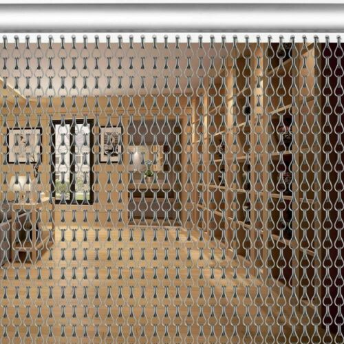 214x90CM Metal Aluminium Chain Link Fly Pest Control Insect Door Screen Curtain