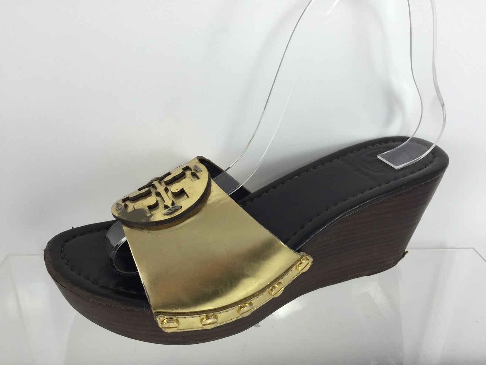 Tory Burch Donna Metallic Gold Leather Sandals 6.5 M