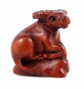 Boj-Tallado-a-Mano-Japones-Articulo-Escultura-Sentado-Buffalo-Roca-11221902