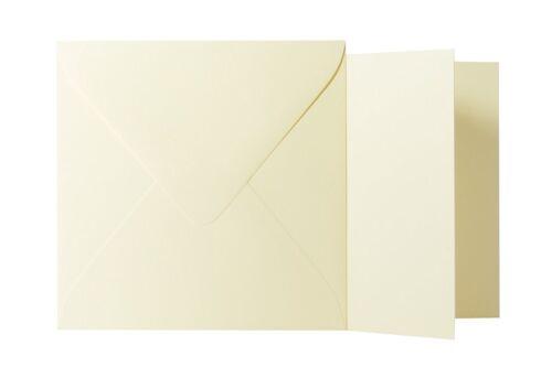 12,5x12,5 cm // 12x12 cm Klappkarten quadratisch Hell Gelb 25x Briefumschläge