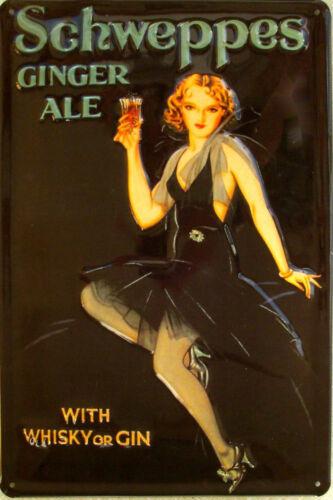 Schweppes Ginger Ale Blechschild 20 x 30 cm gewölbt /& Motiv geprägt