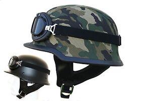Stahlhelm-Wehrmachtshelm-mit-Brille-Motorradhelm-Oldtimer-Tarn-Helm-Camouflage