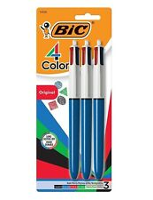 A32784 BIC 4-color Retractable Ballpoint Pen 1 Mm Medium Assorted Blue Barrel 3p