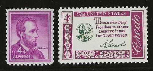 MINT CONDITION ABRAHAM LINCOLN 2 U.S POSTAGE STAMPS PORTRAIT /& QUOTE