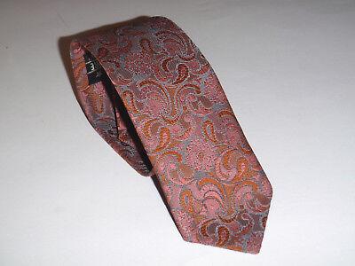 100% Vero Commodore Trevira Breve Cravatta 133 Cm Con Motivo Rose Bleu-retrò Vintage Tie- Eccellente Nell'Effetto Cuscino