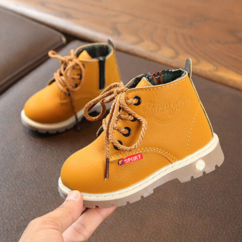 Infant Baby Kids Boys Girls Lace-Up Side Zipper Ankle Boots Chelsea Martin Shoes