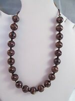 Monet Bronze Beaded Choker Necklace, Signed, Textured Details