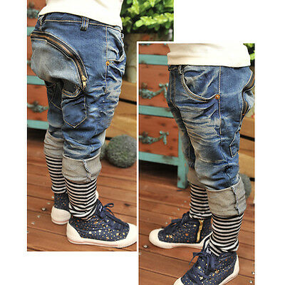 8MI Childrens Fashion Jeans Harem Pant Toddler Boys Kid Collapse Casual Trousers