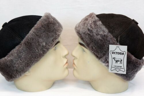 Black /& Brown 100/% Sheepskin Shearling Leather Fur Beanie Round Bucket Hat S-3XL