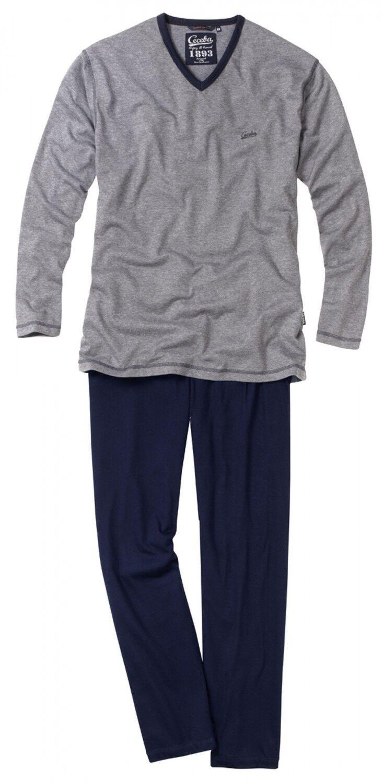 Pyjama V-Ausschnitt lang CECEBA Herren Schlafanzug bügelfrei Übergrössen Reise