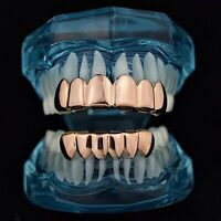 Grillz Set 14k Rose Gold Plated Top & Bottom 6 Tooth Slugs Hip Hop Teeth Grills
