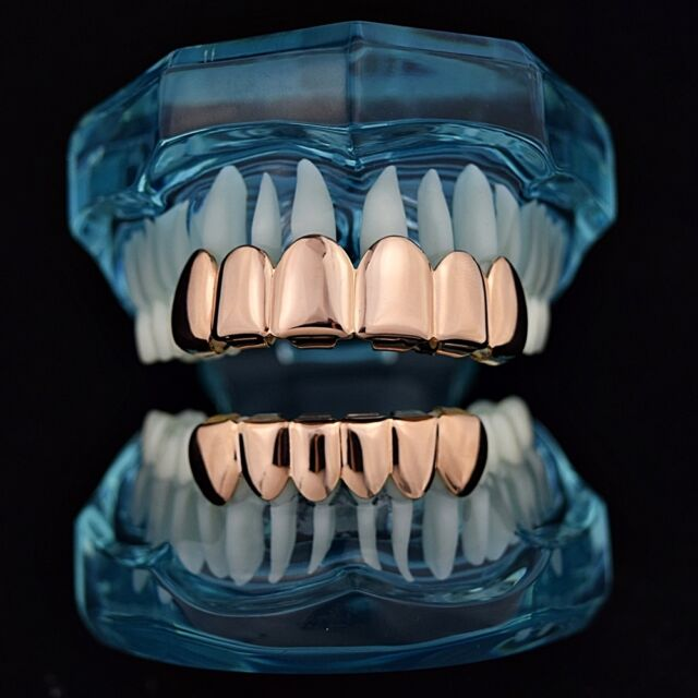 Grillz Set 14k Rose Gold Plated Top Bottom 6 Tooth Slugs Hip Hop Teeth Grills For Sale Online Ebay