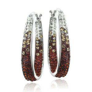 Silver-Tone-Orange-Crystal-Ombre-Inside-Out-Oval-Hoop-Earrings