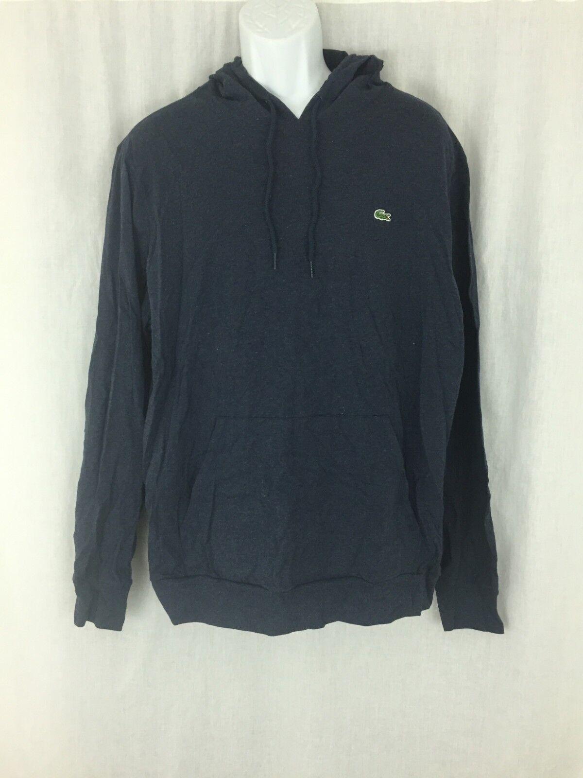 Men Lacoste indigo Blau light weight hoodie pullover sweatshirt Größe 7/ XL New