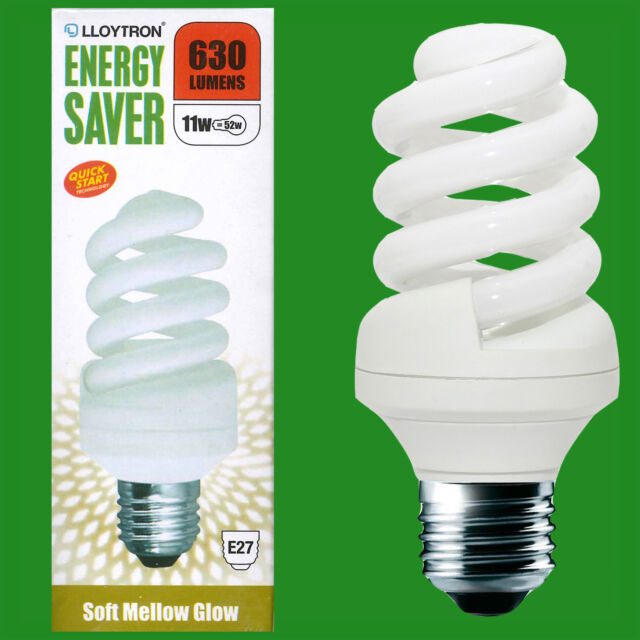 11W (=52W) Low Energy 2700k Warm White CFL Spiral Light Bulb, E27 Screw Lamp