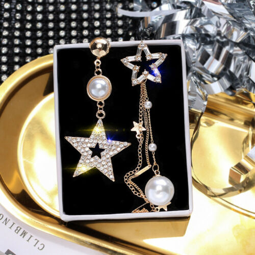Crystal Star Stud Dangle Boucles d/'oreilles Bijoux Perle Tassel imitation asymétrique