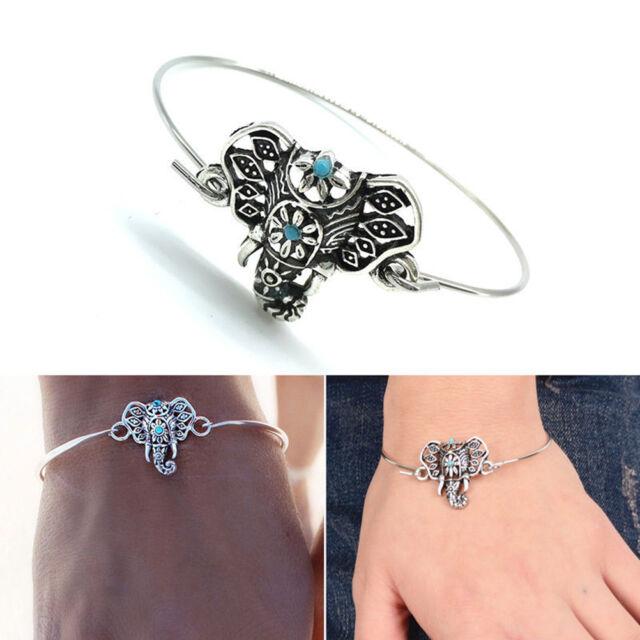 1x Silver Turquoise Elephant Hindu Ganesha Ganesh Cuff Bangle Bracelet 0cn