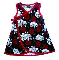Punk Red Skull Rose Diaper Cover Gothic Toddler Baby Girl Dress Kimono Pants