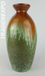 Vintage-60-70-039-s-WEST-GERMAN-POTTERY-Green-brown-Art-Vase-Fat-Lava-Era