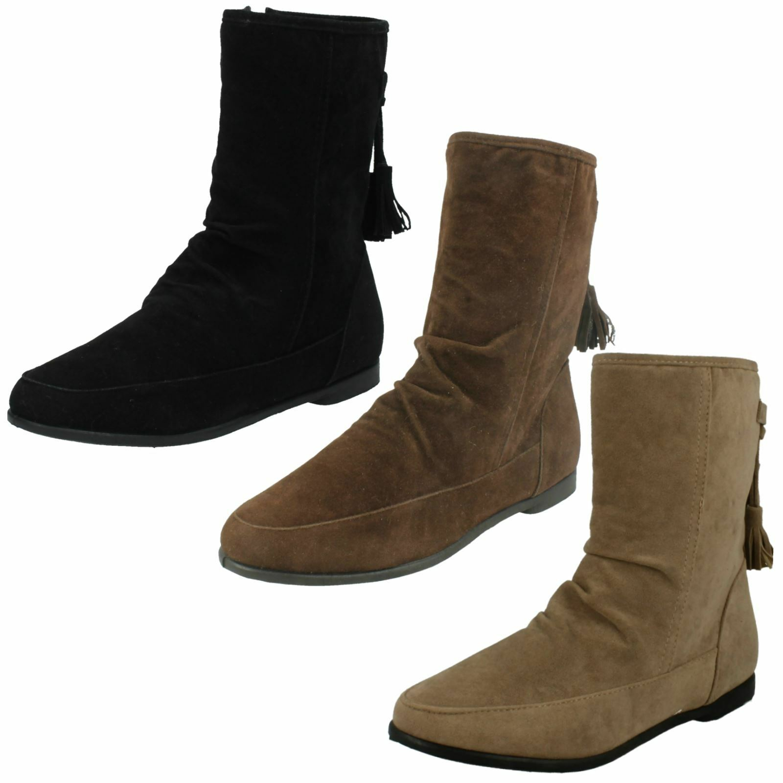 Ladies Spot On Flat Ankle 'Boots'