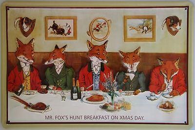 MR FOX'S BREAKFAST ON XMAS DAY  VINTAGE ADVERT  Embossed Metal Sign