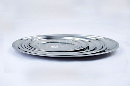 Small/&Large Stainless Steel Oval Tray Plate Meat Platter Serving Dish 20-60 cm