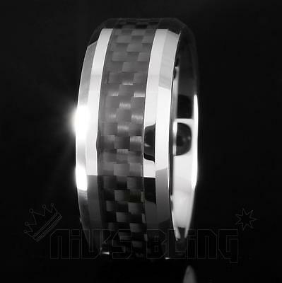 Silver Tungsten Carbide Black Carbon Fiber Inlay Wedding Band Bridal Ring MENS