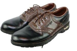 FootJoy-GreenJoys-Golf-Shoes-Mens-Size-9-5M-Black-amp-Brown-Soft-Spikes-FJ-45575