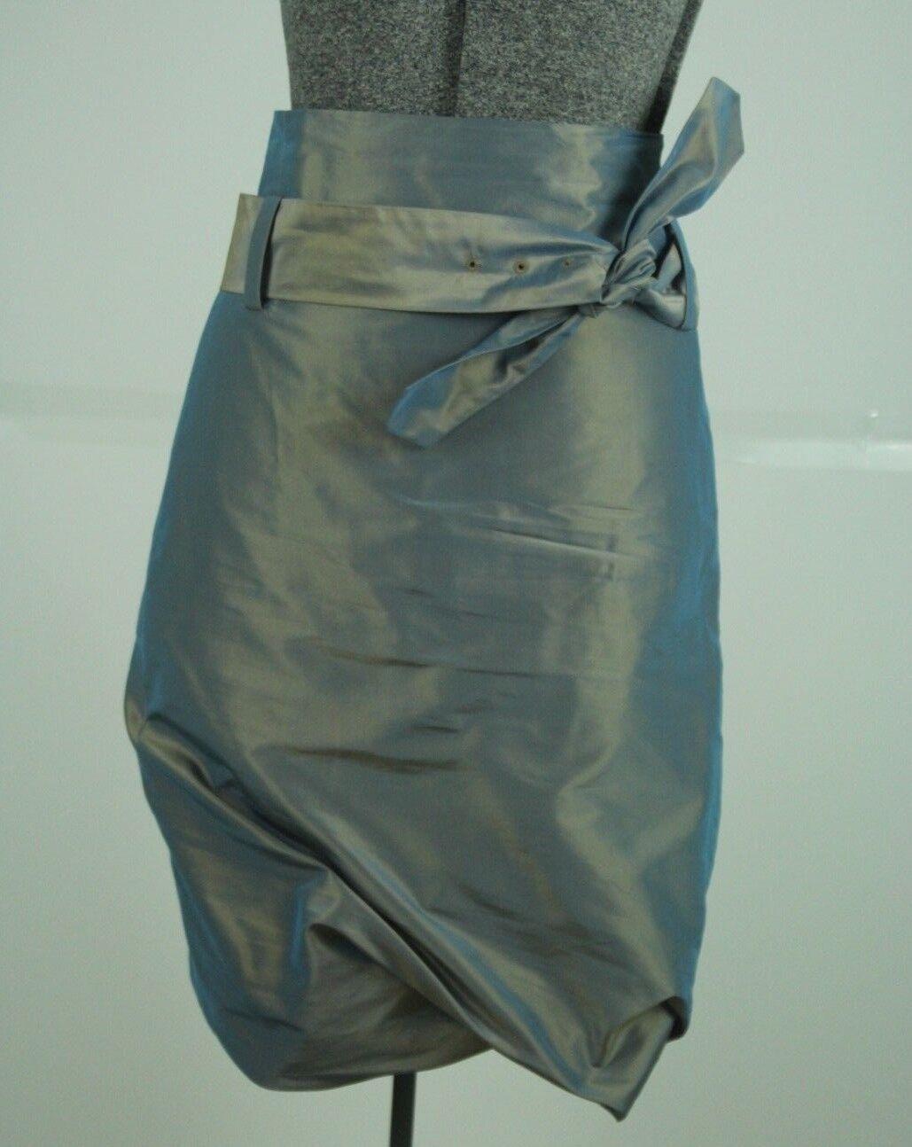 Pauw Amsterdam Silk Skirt Size 0 Iridescent bluee Bubble Hem High Waist NWT